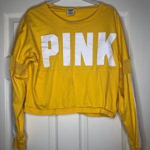 PINK Victoria Secret long sleeve croptop yellow LG